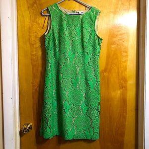 New York & Company Green Floral Sleeveless Dress